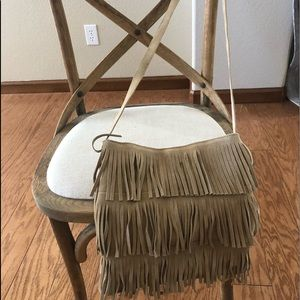 Suede fringe shoulder bag
